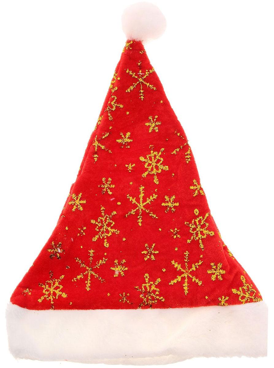 Колпак новогодний Снежинки, 40 х 27 см719611Поддайтесь новогоднему веселью на полную катушку! Забавный колпак в секунду создаст праздничное настроение, будь то поздравление ребятишек или вечеринка с друзьями. Размер изделия универсальный: аксессуар подойдет как для ребенка, так и для взрослого. А мягкий текстиль позволит носить колпак с комфортом на протяжении всей новогодней ночи.