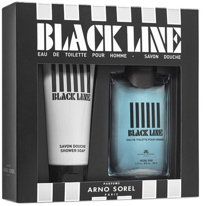 Arno Sorel Набор подарочный мужской Coffret Black Line, туалетная вода 100 мл, гель для душа 100 мл