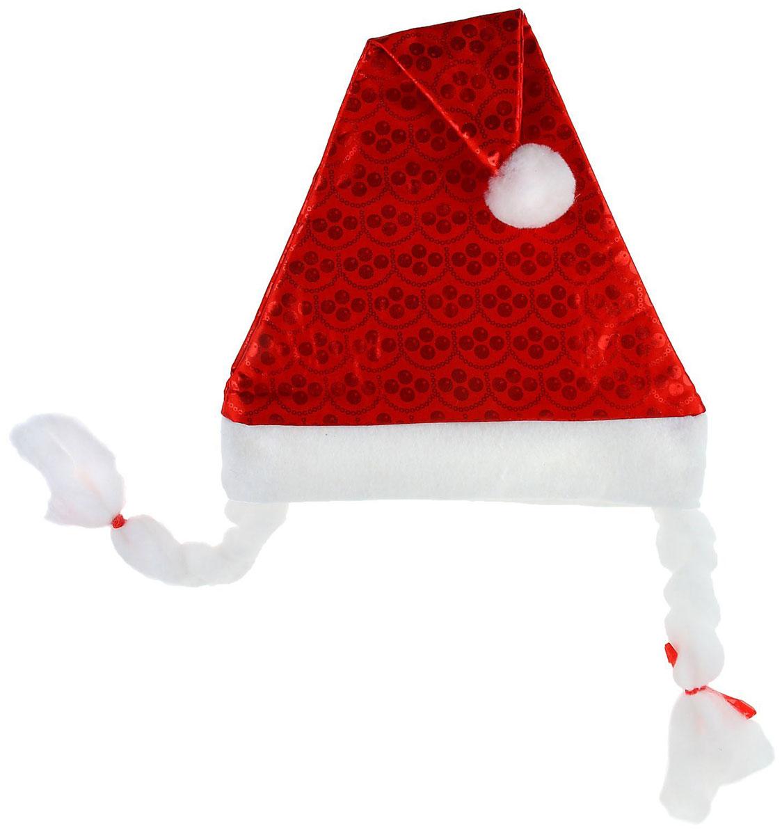 Колпак новогодний Точки, с косичками, 27 х 42 см1112359Поддайтесь новогоднему веселью на полную катушку! Забавный колпак в секунду создаст праздничное настроение, будь то поздравление ребятишек или вечеринка с друзьями. Размер изделия универсальный: аксессуар подойдет как для ребенка, так и для взрослого. А мягкий текстиль позволит носить колпак с комфортом на протяжении всей новогодней ночи.