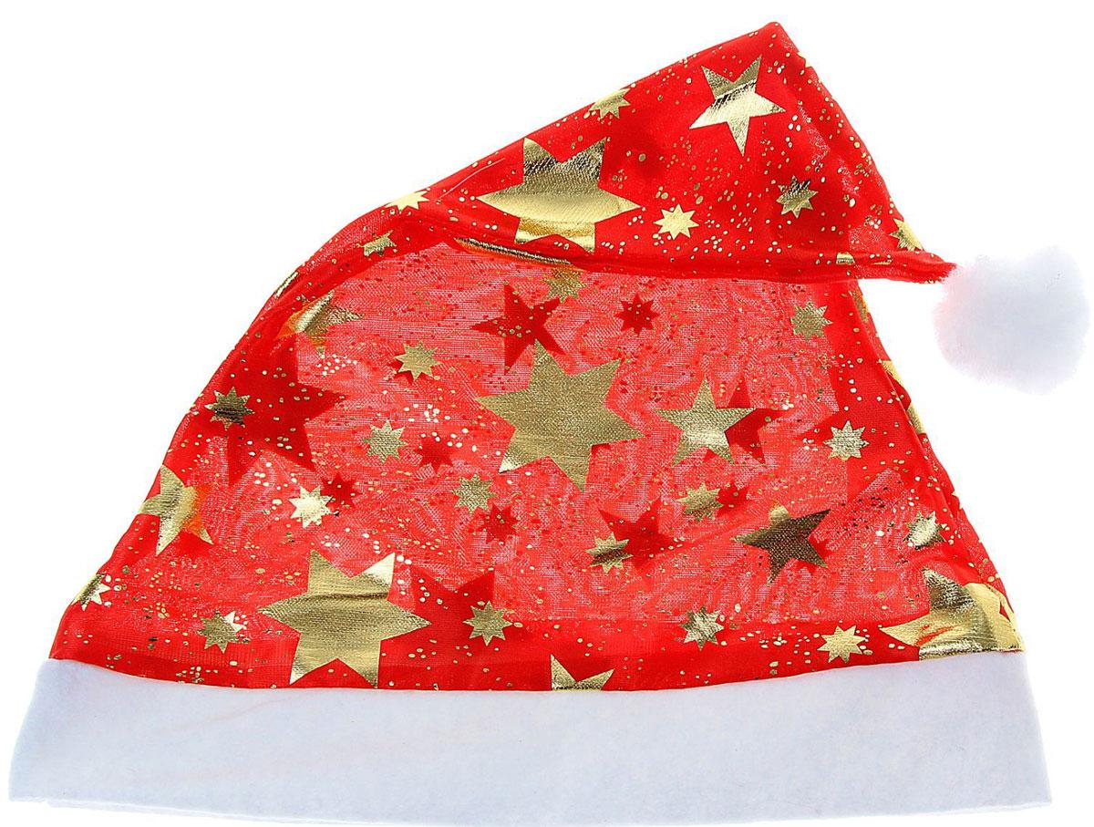 Колпак новогодний глянцевый Звезды, цвет: красный703831Поддайтесь новогоднему веселью на полную катушку! Забавный колпак в секунду создаст праздничное настроение, будь то поздравление ребятишек или вечеринка с друзьями. Размер изделия универсальный: аксессуар подойдет как для ребенка, так и для взрослого. А мягкий текстиль позволит носить колпак с комфортом на протяжении всей новогодней ночи.