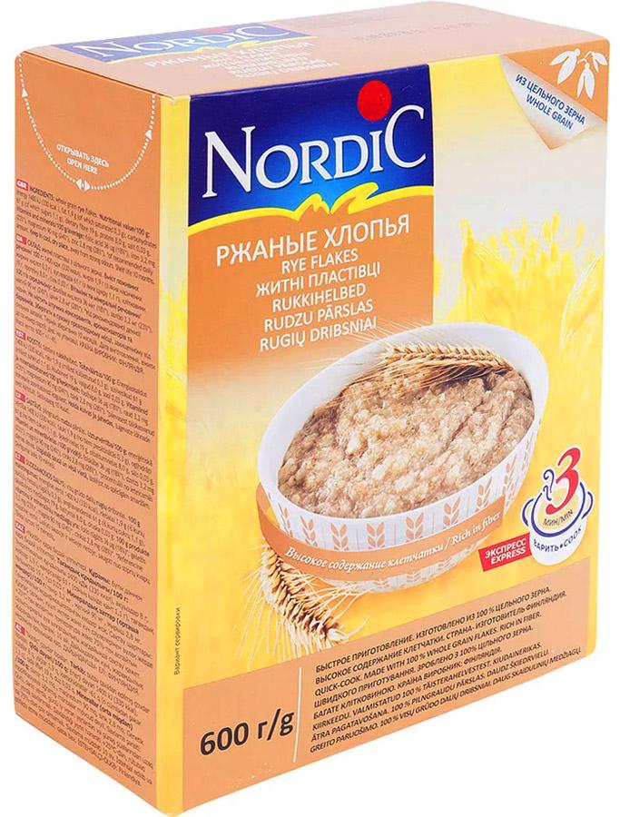 Nordic хлопья ржаные, 600 гбир055Рожь содержит большое количество клетчатки, ускоряющей выведение шлаковых продуктов из кишечника и дающей ощущение сытости.Волокна, содержащиеся во ржи, улучшают пищеварение, понижают кислотность, предотвращая ряд желудочно-кишечных заболеваний, а также контролируют уровень сахара в крови.Регулярное употребление ржаных хлопьев снижает уровень холестерина в крови и предупреждает сердечно-сосудистые заболевания.Ржаные хлопья - прекрасная находка для всех, кто ценит свое время и здоровую пищу. Достаточно высыпать хлопья в тарелку, залить горячим молоком, накрыть крышкой - и через три минуты готова замечательная каша.Лайфхаки по варке круп и пасты. Статья OZON Гид