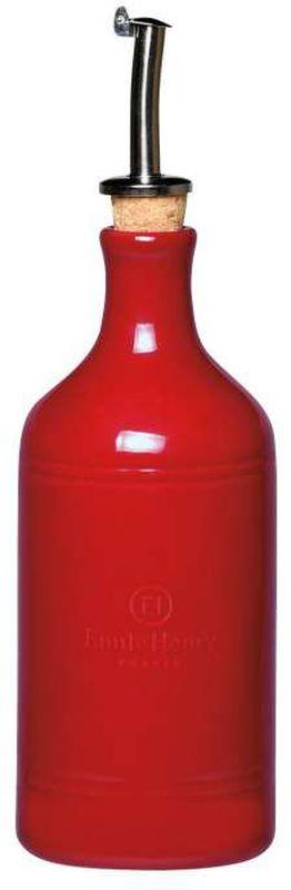 Бутылка для масла Emile Henry, с подставкой под ложку, цвет: гранатовый349762Бутылка для масла и подставка под ложку (крем) в подарочной упаковке. Размер упаковки: 27 x 19,5 x 9 cm