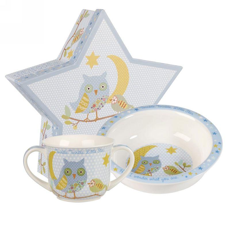 Набор столовой посуды Churchill Звезда, цвет: голубой, 2 предметаTWKL00021Коллекция для малышей наполнена баснями и сказками. Коллекция включает: различные подарочные наборы (кружка, тарелка и миска), кружки, набор столовых приборов, копилки, шкатулки и т.д. Детские наборы от 3-х лет.