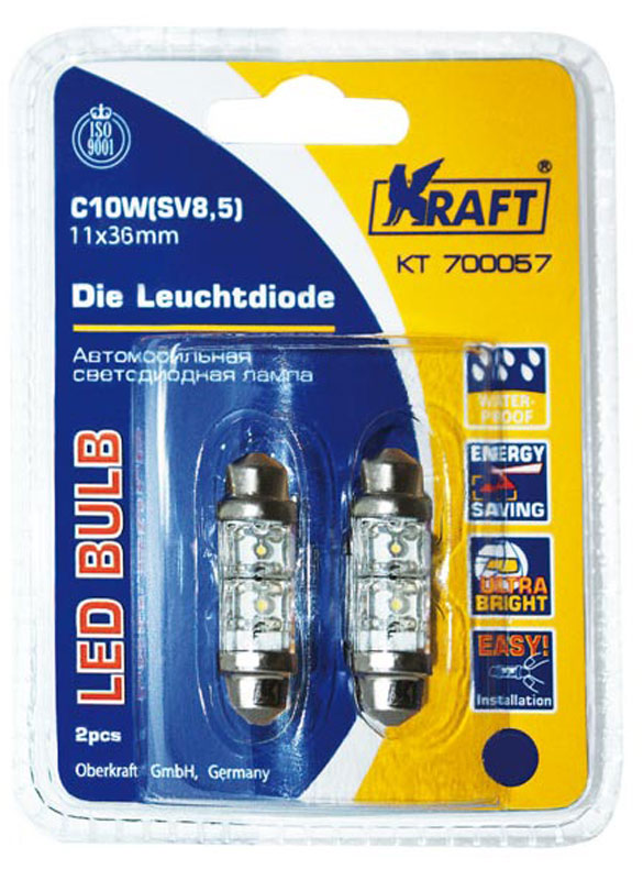 Лампа автомобильная светодиодная Kraft Basic, C10W (SV8,5), 11x36, blue, 2 LEDs, 2 шт набор автомобильных ламп kraft basic 12leds 25x40 mm