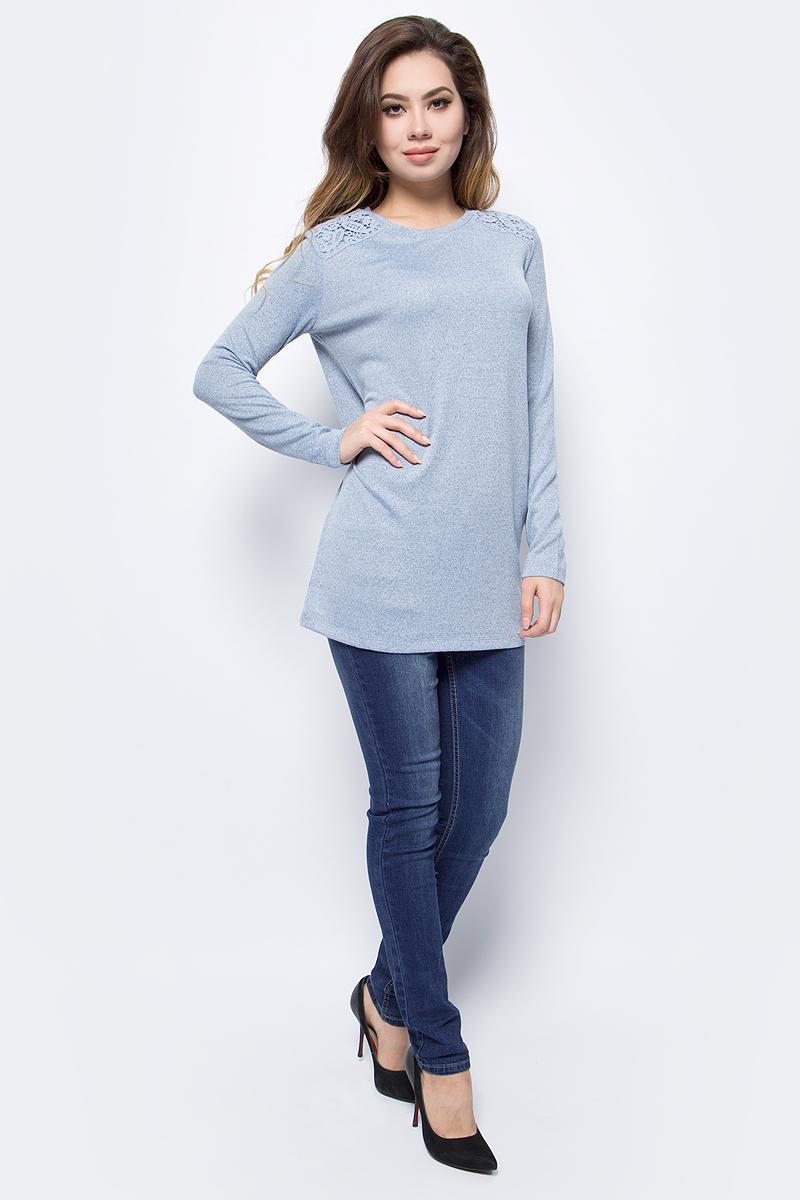 Джемпер женский Sela, цвет: прозрачно-голубой меланж. TKk-111/1326-7413. Размер S (44)TKk-111/1326-7413