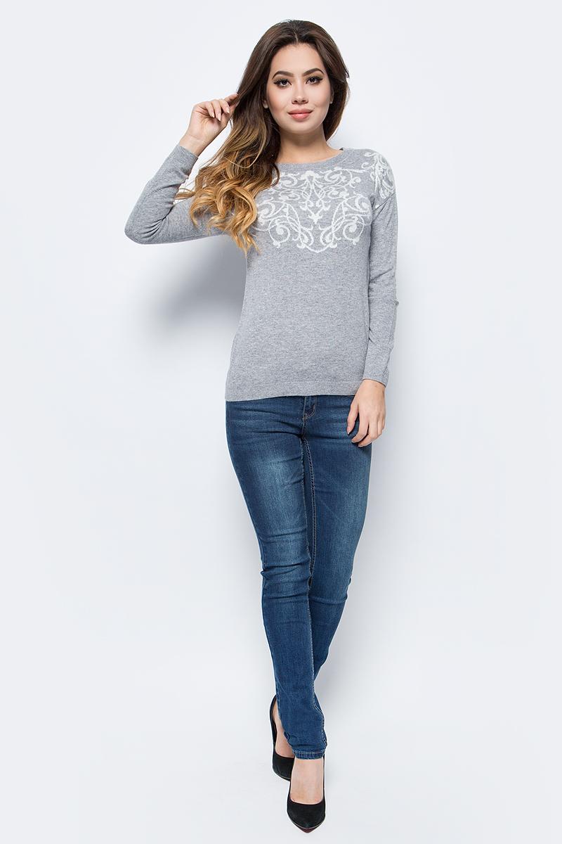 Джемпер женский Sela, цвет: серый меланж. JR-114/1236-7413. Размер S (44) жакет женский sela цвет темно синий jtk 116 448 6171 размер s 44
