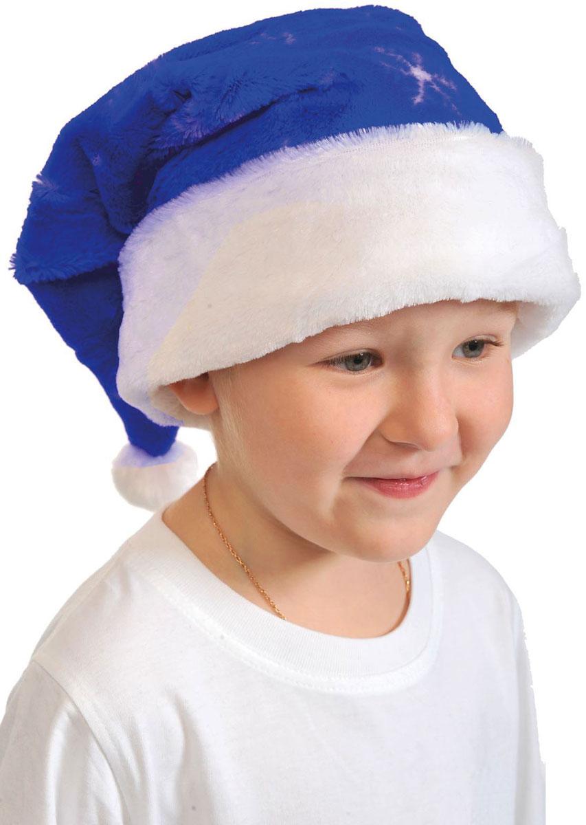 Колпак новогодний, цвет: синий. Размер 53-55 см. 25128252512825Невозможно представить нашу жизнь без праздников! Мы всегда ждем их и предвкушаем, обдумываем, как проведем памятный день, тщательно выбираем подарки и аксессуары, ведь именно они создают и поддерживают торжественный настрой. Новогодние аксессуары — это отличный выбор, который привнесет атмосферу праздника в ваш дом!