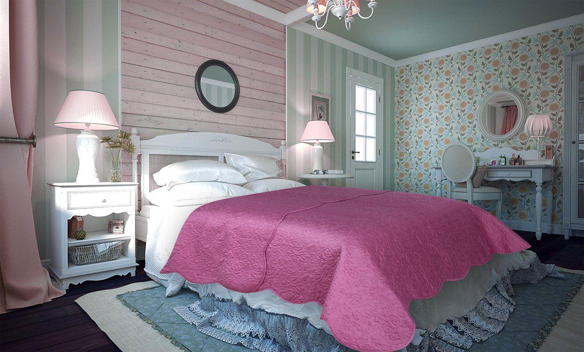 Покрывало Amore Mio Damask, цвет: розовый, 220 х 240 см