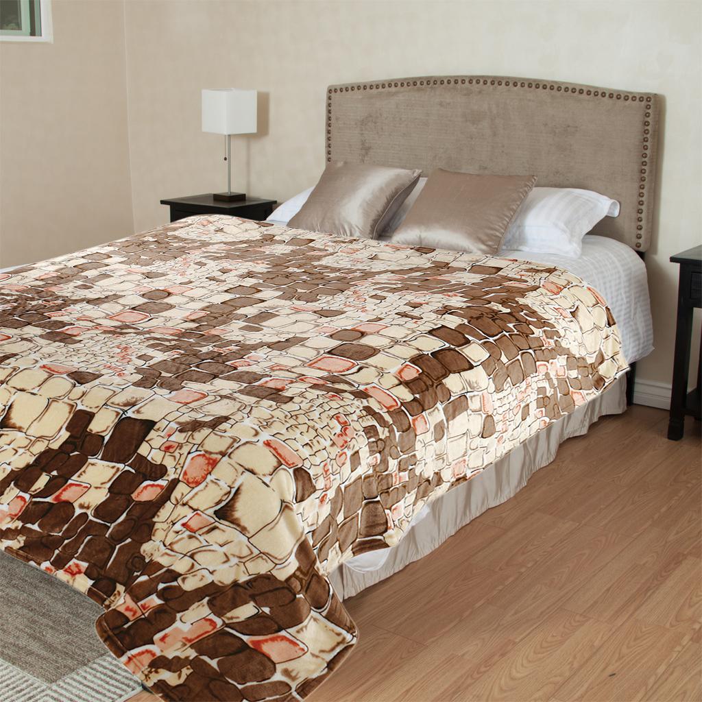 Плед TexRepublic Камешки, цвет: коричневый, 200 х 220 см. 86563