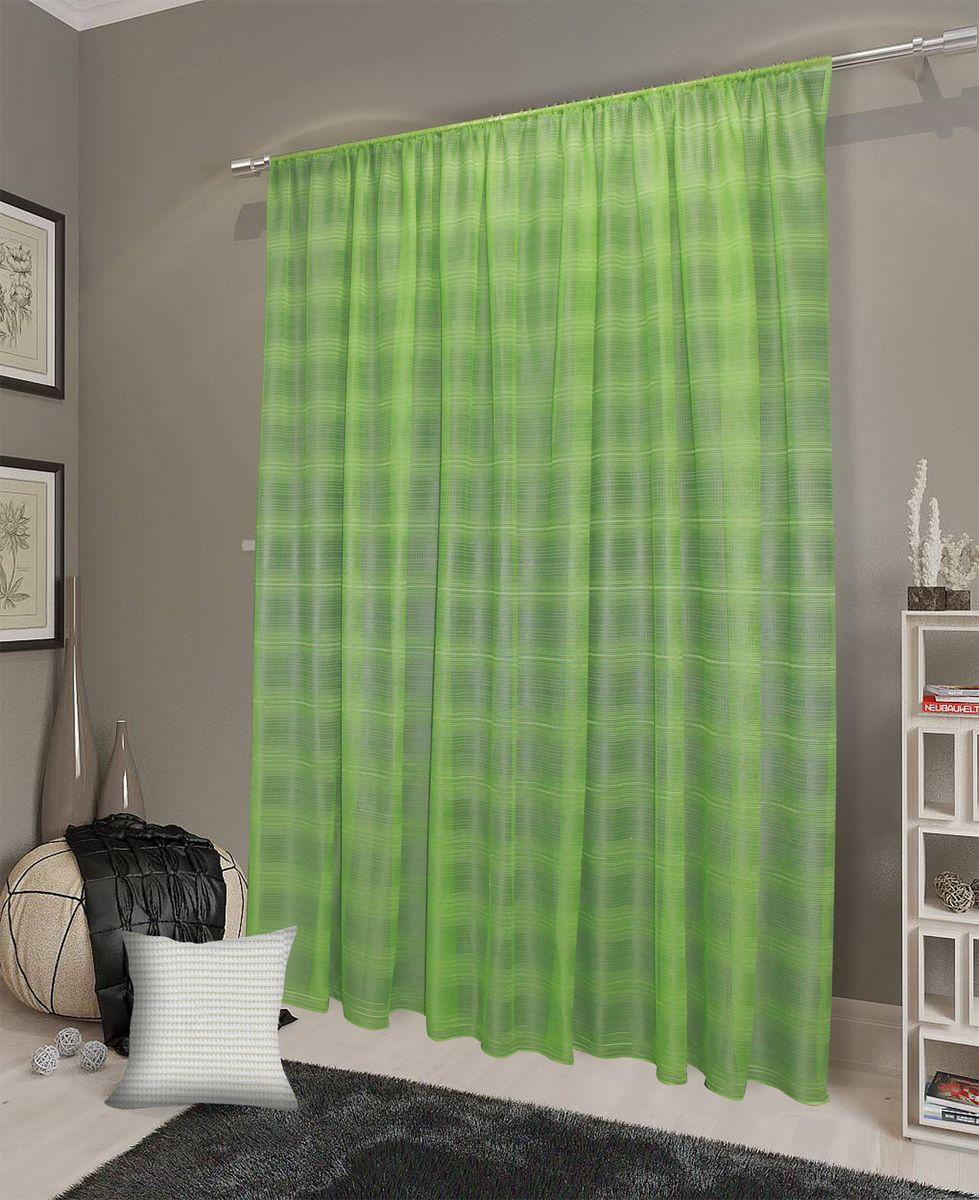 Тюль Amore Mio, цвет: зеленый, высота 270 см. 9024890248Легкий современный тюль насыщенного салатового цвета выполнен из сетки оригинального дизайна. Нейтральный рисунок -полоска идеально впишется в любой интерьер. Изделие на шторной ленте и готово к использованию.