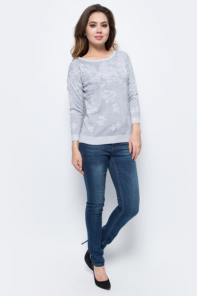 Джемпер женский Sela, цвет: серый меланж. JR-114/1238-7413. Размер XL (50) джемпер женский baon цвет серый меланж b166521 размер xl 50