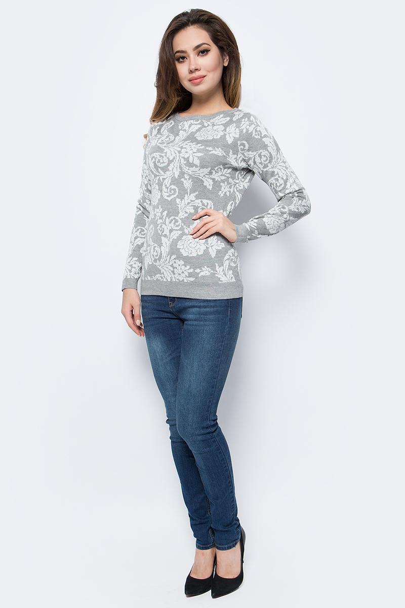 Джемпер женский Sela, цвет: серый меланж. JR-114/1242-7413. Размер XL (50)JR-114/1242-7413