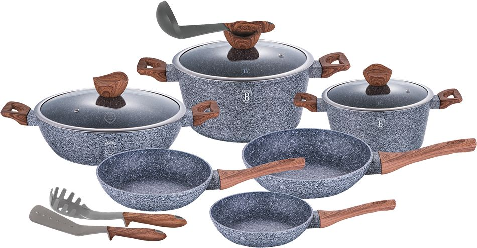 Набор посуды Berlinger Haus Forest Line, 12 предметов. 1530-BH1530-ВННабор посуды 12 предметов, кастрюли с крышкой 2,2л - 20*10см, 4,1л - 24*12см, 6,1л - сотейник 28*7.5см, сковорода 20*4,5см,сковорода 24*4,8см, сковорода 28*5,2 см, кухонные принадлежности 3 шт., кованый алюминий, 3 слоя мраморно-гранитного покрытия, толщина стенок 0,5 см, эргономичная ручка soft touch, индукционное дно, крышка с ручкой-подставкой под кухонные принадлежности O20, 24, 28, цвет: серый/коричневый. Подходит для всех видов плит: газовых, электрических, стеклокерамических, галогенных, индукционных.