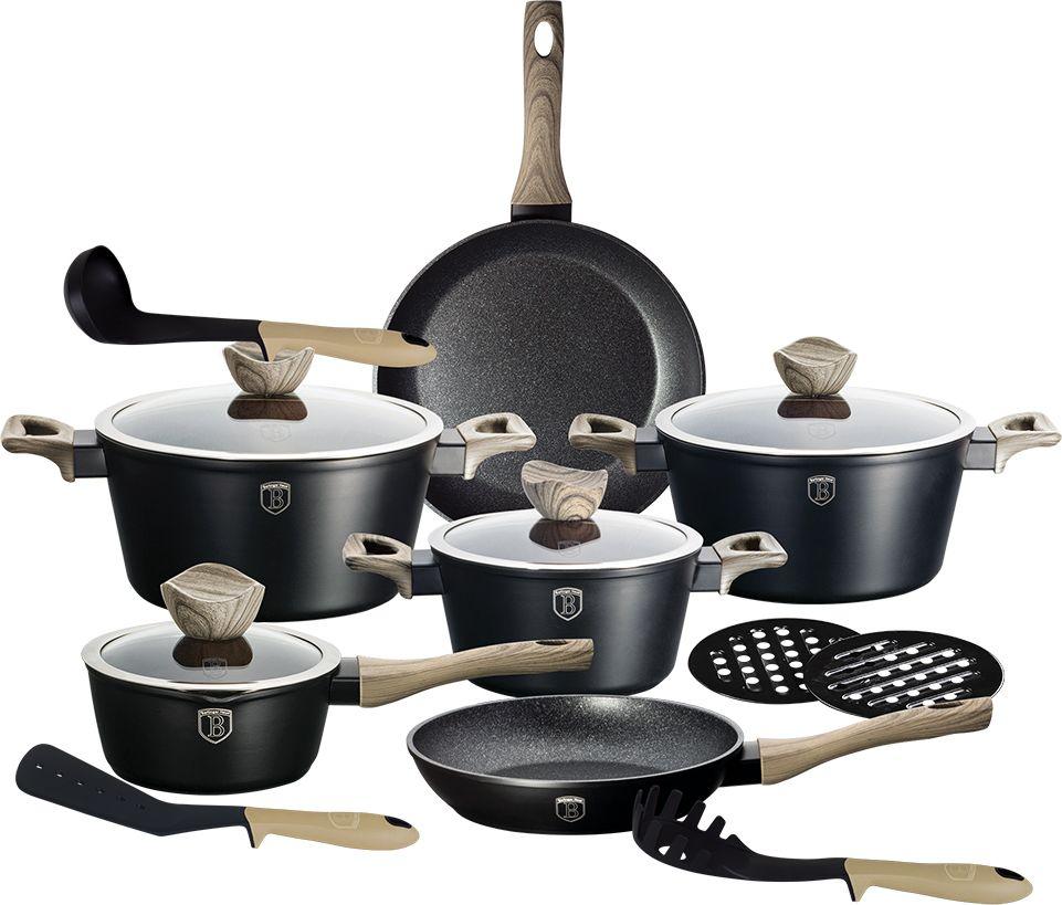 Набор посуды Berlinger Haus Forest Line, цвет: черный, 15 предметов. 1536-BH