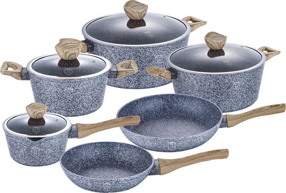 Набор посуды Berlinger Haus Forest Line, цвет: серый, 10 предметов. 1-BH1230-08RS/CW WDНабор посуды Berlinger Haus Forest Line состоит из 10 предметов. В наборе: 3 кастрюли с крышками: 2,2 л (20 х 10 см), 4,1л (24 х 12 см), 6,1 л (28 х 5,5 см), ковш с крышкой (16 х 8,5 см), сковорода (24 х 5 см),сковорода (28 х 5,5 см). Посуда выполнена из кованного алюминия, имеет 3 слоя мраморно- гранитного покрытия, эргономичные ручки soft touch, индукционное дно. Каждая кастрюля и ковш оснащены крышкой с ручкой-подставкой подкухонныепринадлежности.Подходит для всех видов плит: газовых, электрических, стеклокерамических, галогенных, индукционных.