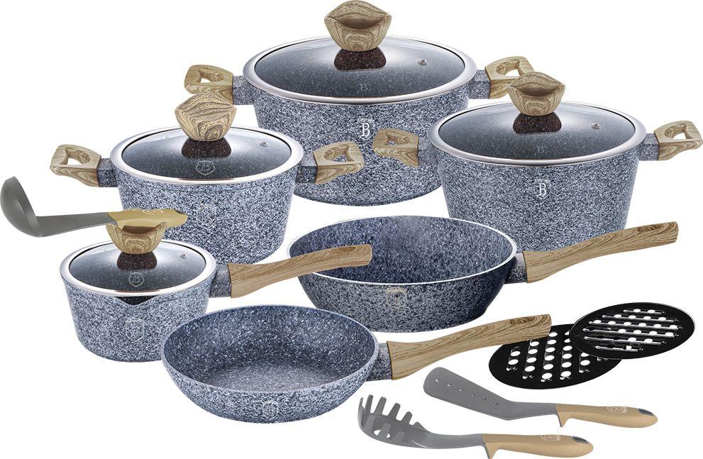 Набор посуды Berlinger Haus Forest Line, 15 предметов. 1566-BH1566-ВННабор посуды Berlinger Haus Forest Line состоит из 15 предметов. Посуда выполнена из кованого алюминия. Кастрюли оснащены стеклянными крышками.В наборе: сковороды: 24 х 4,8 см,28 х 5,2 см, кастрюли: 2,5 л (20 х 10,4 см), 4,1 л (24 х 12 см), 6,1 л (28 х 12,5 см), ковш (16 х 8,5 см), 2 подставки под горячее, 3 кухонных инструмента. Изделия имеют эргономические ручки с покрытием soft touch, 3 слоя мраморного покрытия и индукционное дно. Подходит для всех видов плит: газовых, электрических, стеклокерамических, галогенных, индукционных.