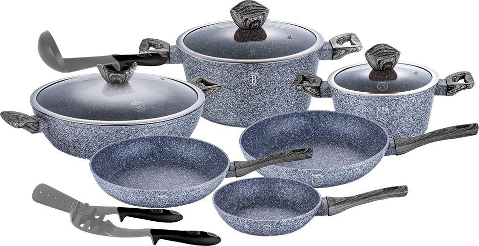 Набор посуды Berlinger Haus Forest Line, 12 предметов. 1584-BH1584-ВННабор посуды 12 предметов, кастрюли с крышкой 2,2л - 20*10см, 4,1л - 24*12см, 6,1л -, сотейник 28*7.5см, сковорода 20*4,5см,сковорода 24*4,8см, сковорода 28*5,2 см, кухонные принадлежности 3 шт., кованый алюминий, 3 слоя мраморно-гранитного покрытия, толщина стенок 0,5 см, эргономичная ручка soft touch, индукционное дно, крышка с ручкой-подставкой под кухонные принадлежности O20, 24, 28, цвет: серый/серое дерево. Подходит для всех видов плит: газовых, электрических, стеклокерамических, галогенных, индукционных.