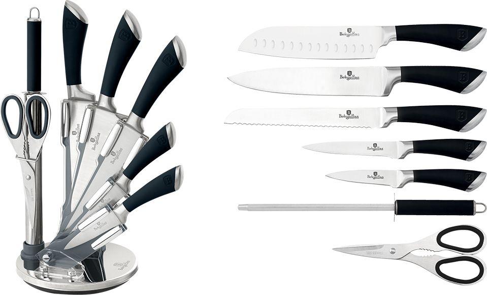 """Набор ножей Berlinger Haus """"Infinity Line"""" включает поварской нож, нож для хлеба, нож сантоку, универсальный нож, нож для очистки овощей, мусат, ножницы, акриловую подставку. Лезвия ножей выполнены из качественной нержавеющей. Лазерная заточка гарантирует остроту ножей. Эргономичные ручки имеют покрытие soft-touch, благодаря чему отлично лежат в руке. Ножи не подвержены ржавлению, очень долго держат заточку, а также имеют хорошие режущие качества. Можно мыть в посудомоечной машине. Длина лезвия поварского ножа: 20 см. Длина лезвия ножа для хлеба: 20 см. Длина лезвия ножа сантоку: 17,5 см. Длина лезвия универсального ножа: 12,5 см. Длина лезвия ножа для очистки: 9 см."""