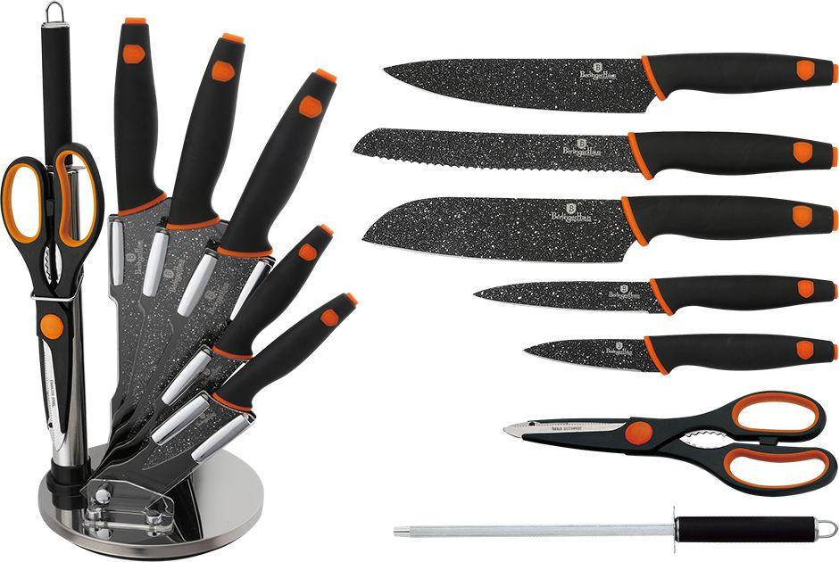 Набор ножей Berlinger Haus Granit Diamond Line, на подставке, 8 предметов. 2117-BH2117-ВННабор ножей Berlinger Haus Granit Diamond Line включает поварской нож, нож для хлеба, нож сантоку, универсальный нож, нож для очистки овощей, мусат, ножницы, акриловую подставку. Лезвия ножей выполнены из качественной нержавеющей с мраморным покрытием. Лазерная заточка гарантирует остроту ножей. Эргономичные ручки имеют покрытие soft-touch, благодаря чему отлично лежат в руке. Ножи не подвержены ржавлению, очень долго держат заточку, а также имеют хорошие режущие качества. Можно мыть в посудомоечной машине. Длина лезвия поварского ножа: 20 см. Длина лезвия ножа для хлеба: 19 см. Длина лезвия ножа сантоку: 15,2 см. Длина лезвия универсального ножа: 11,5 см. Длина лезвия ножа для очистки: 9 см.