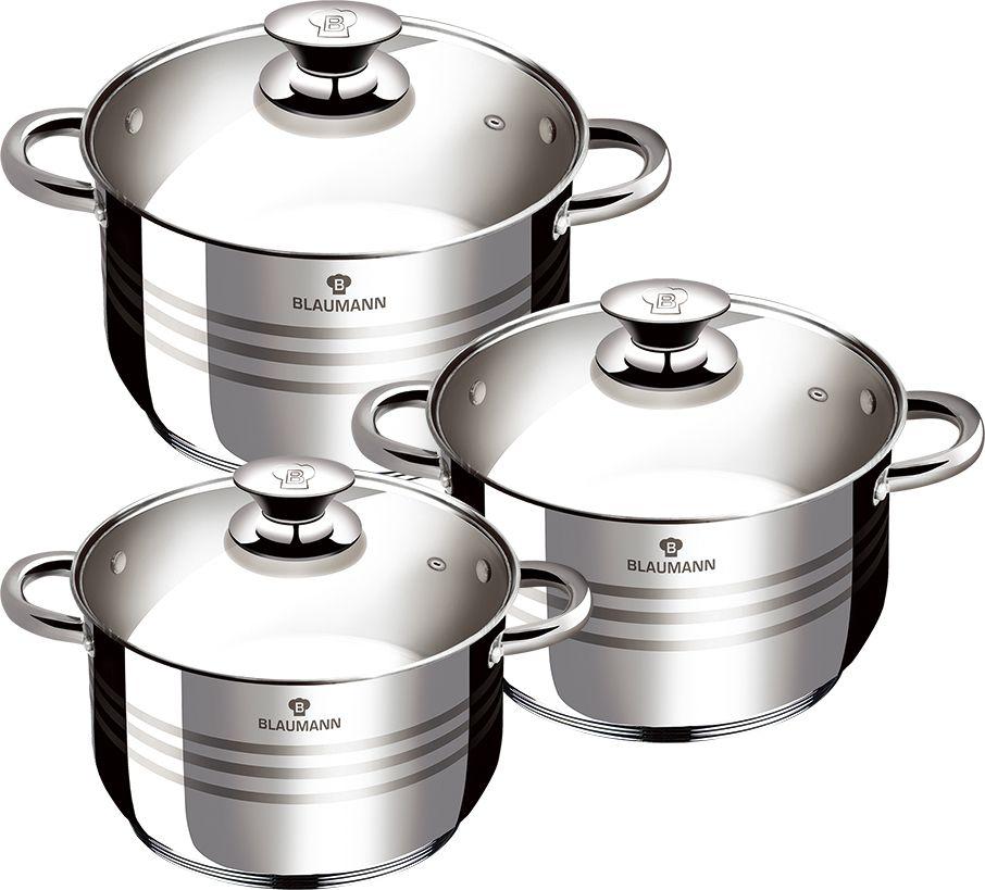 Набор посуды Blaumann Gourmet Line, 6 предметов. 3174-BL3174-BLНабор посуды 6 предметов, нержавеющая сталь, кастрюля с крышкой 16х9 см, 1,9 л, кастрюля с крышкой 20x11,5 см 3,6 л, кастрюля с крышкой 24x13,5 см 6,1 л, мерная шкала, индукционное дно. Подходит для всех видов плит: газовых, электрических, стеклокерамических, галогенных, индукционных.