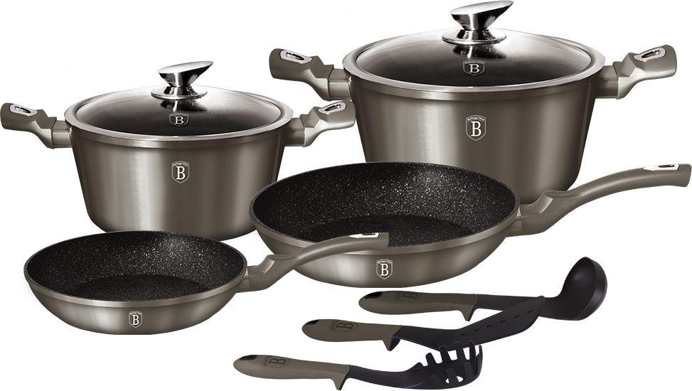 Набор посуды Berlinger Haus Carbon Metallic Line, 9 предметов. 1227-BH1227-ВННабор посуды Berlinger Haus Carbon Metallic Line состоит из 9 предметов. Посуда выполнена из кованого алюминия. Кастрюли оснащены стеклянными крышками.В наборе: сковорода (24 х 5 см), сковорода (28 х 5,2 см), кастрюля 4,1 л (24 х 12 см), кастрюля 6,1 л (28 х 12,5 см), 3 кухонных инструмента. Изделия имеют эргономические ручки с покрытием soft touch, 3 слоя мраморного покрытия и индукционное дно. Подходит для всех видов плит: газовых, электрических, стеклокерамических, галогенных, индукционных.