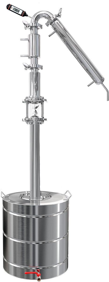 Добрый жар ДЖ1 DF дистиллятор, 40 лУниверсальная система ДЖ1 DF 40 литровДЖ1-DF – это универсальная система для производства домашней водки или спирта-ректификата высокого качества. В отличие от стартовых моделей представляет собой более сложный комплекс, включающий дополнительные модули, главной задачей которых является повышение качества конечного продукта и его объемов.Преимущества универсальной системы ДЖ1-DF.- Ректификационная колонна с тарельчатым диоптром – обеспечивает более эффективное отделение нужных фракций за счет того, что поднимающиеся вверх пары постоянно взаимодействуют со стекающей обратно в перегонный куб флегмой, и этот процесс можно визуально контролировать через прозрачные стенки диоптра.- Наличие дефлегматора – в нем происходит первичное охлаждение и конденсация паров. Это позволяет возвращать тяжелокипящие примеси обратно в ректификационную колонну и перегонный куб, а максимально очищенные от вредных компонентов пары легкокипящего этилового спирта направлять дальше в холодильник.- Встроенный в поворотный узел термометр для контроля режима перегона и отбора нужных спиртовых фракций.- Трубчатый холодильник, который при компактных размерах и минимальном расходе воды обеспечивает высокую производительность.- Кламповые соединения – дают возможность произвольно менять конфигурацию системы, добавляя или убирая отдельные модули.- Перегонный куб с ручками и краном для слива отработанной флегмы, а также с широкой горловиной для более удобного использования.Все модули изготовлены из высококачественной пищевой нержавеющей стали, устойчивы к воздействиям коррозионных сред, не требуют особого ухода и не боятся бытовой химии (не использовать чистящие средства с примесями твердых фракций).