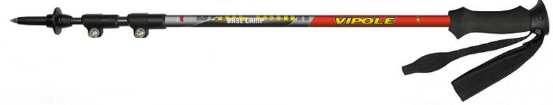 Палки треккинговые Vipole Base Camp QL, цвет: красный. S15 18S15 18Телескопические трехсекционные треккинговые палки выполнены из алюминия 7075. Нижние секции - анодированный алюминий. Технология - Quick Lock наружный (рычажный) зажим. Рукоятка выполнена из пластика и EVA. Регулируемый темляк со смягчающими вставками. Твердосплавный наконечник. Регулируемая длина от 67 до 135 см.В комплект поставки входят: палки (пара), резиновые треккинговые наконечники и сумка для переноски и хранения.Палки Base Camp QL EVA можно использовать на протяжении 4 сезонов для трекинга по любой поверхности от скальных пород до свежевыпавшего снега.Диаметр секций: 12/14/16 мм. Диаметр колец: 32 мм.