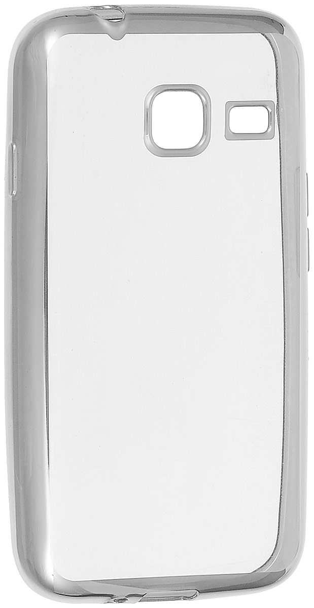 Skinbox 4People Silicone Chrome Border чехол-накладка для Samsung Galaxy J1 mini (2016), Silver