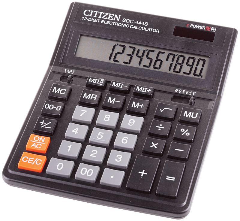 Citizen Настольный калькулятор SDC-444SSDC-444SКалькулятор снабжен функцией расчета с учетом торговой наценки, клавишами смены знака, исправления числа, клавишей двойного нуля. Имеет две ячейки памяти для хранения двух значений одновременно, настройку представления десятичных чисел и округления значений (кол-ва знаков после нуля). Режим автоотключения. Размеры 153 х 199 х 30,5 мм.