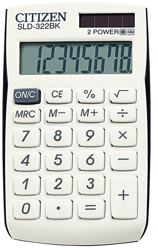 Citizen Карманный калькулятор SLD-322 цвет черный белыйSLD-322BKВыполняет простейшие математические действия: сложение, вычитание, умножение, деление, операции с корнем и процентами. Имеет три клавиши памяти. Режим автоотключения. Размеры 64 х 105 х 9 мм. Вес 40 г.