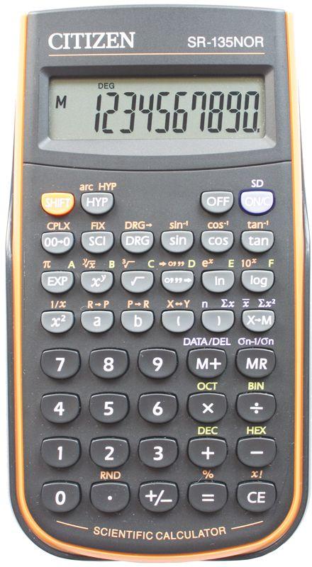 Citizen Инженерный калькулятор SR-135N цвет оранжевыйSR-135NORCFSКалькулятор сертифицирован к использованию на ЕГЭ в системе «Учсерт» Российской Академии Образования. Допускается на ЕГЭ по физике, химии, географии. Выполняет арифметические действия, 128 математических функций, статистические расчеты, операции с двоичными, восьмеричными, десятичными и шестнадцатеричными числами. Имеет защиту памяти при отключении питания. От случайного нажатия клавиатуру защищает подвижная пластиковая крышка. Размеры 78 х 153 х 12 мм. Вес 118 г. Картонная упаковка.