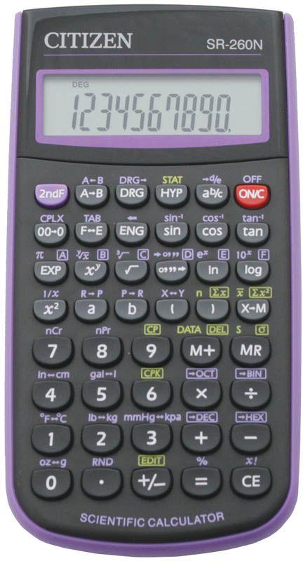 Citizen Инженерный калькулятор SR-260N цвет фиолетовыйSR-260NPUКалькулятор сертифицирован к использованию на ЕГЭ в системе «Учсерт» Российской Академии Образования. Допускается на ЕГЭ по физике, химии, географии. Выполняет арифметические действия, 165 математических функций, статистические расчеты. Имеет память на 1 прошлое действие и защиту памяти при отключении питания. От случайного нажатия клавиатуру защищает подвижная пластиковая крышка. Черный/фиолетовый корпус, картонная упаковка.