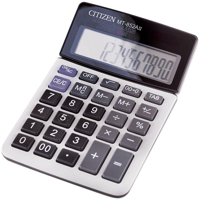 Citizen Настольный калькулятор MT-852AIIMT-852AIIИмеет клавиши смены знака, исправления числа, двойного нуля, три клавиши памяти. Выполняет операции с процентами и квадратным корнем. Есть настройка представления десятичных чисел. Размеры 104 х 161 х 17 мм. Вес 111 г. Картонная упаковка