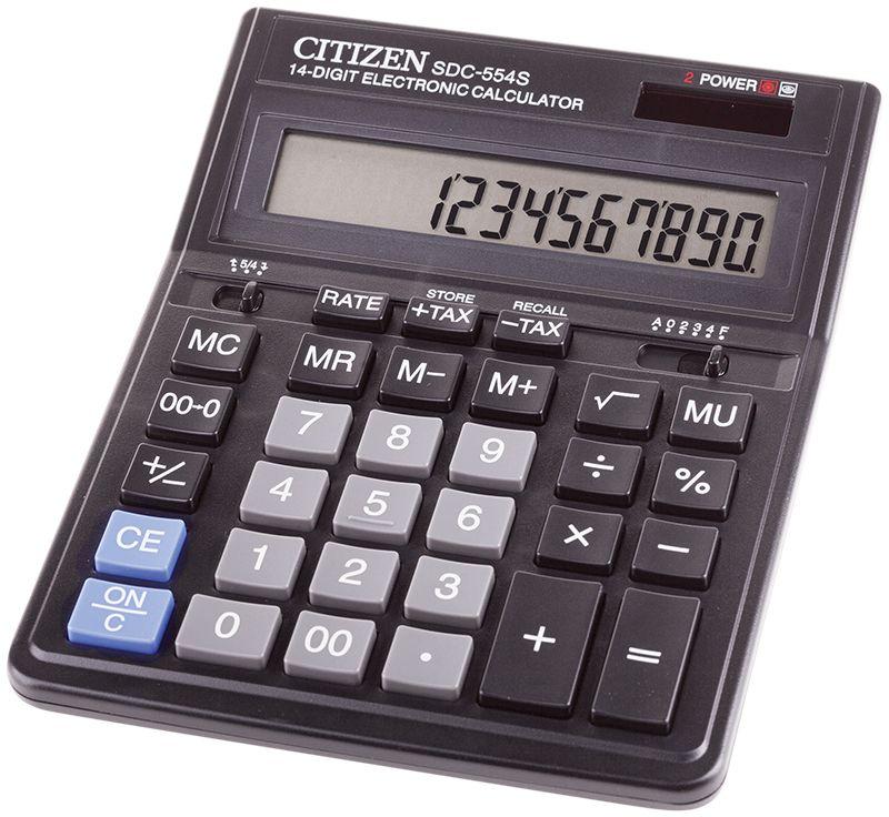 Citizen Настольный калькулятор SDC-554SSDC-554SКалькулятор выполняет вычисления с учетом торговой наценки и НДС, имеет клавиши смены знака, исправления числа, удобную клавишу двойного нуля, а также настройку представления десятичных чисел и округления значений (кол-во знаков после нуля). Режим автоотключения. Картонная упаковка с окном. Размер 153 х 199 х 31 мм. Вес 209 г.