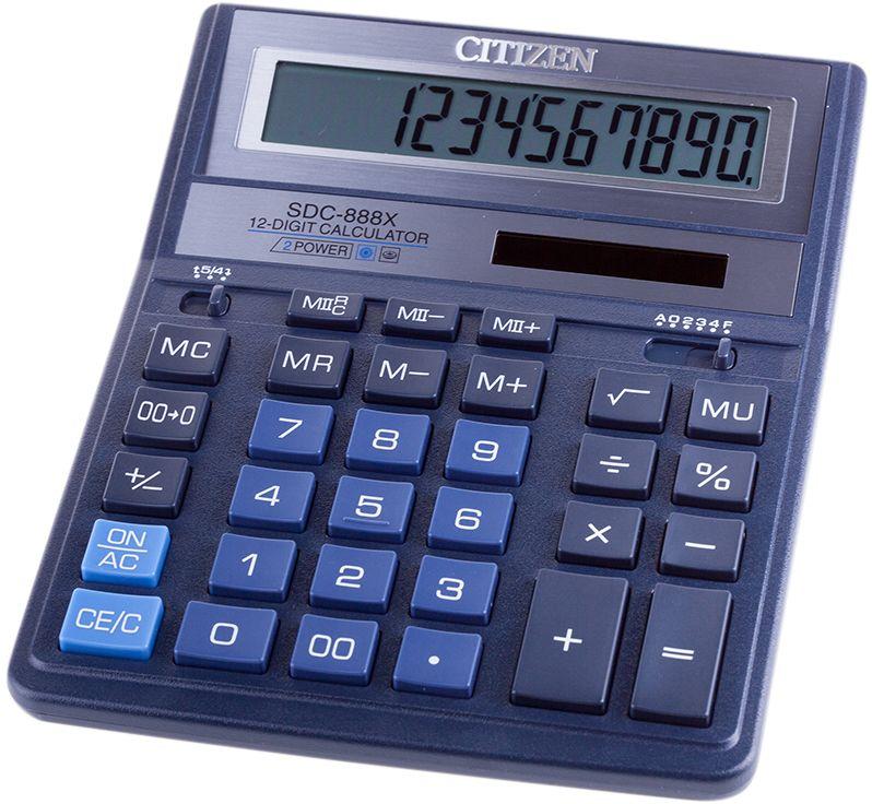 Citizen Настольный калькулятор цвет синий SDC-888XBLSDC-888XBLКультовая модель среди калькуляторов Citizen с наиболее удобным расположением кнопок. Фиксированный угол наклона дисплея. Кнопки вычисления процентов, смены знака, двойного нуля, две ячейки для хранения в памяти двух чисел. Функция вычисления с учетом торговой наценки (MU). Поставляется в картонной упаковке с окном. Размер 205 х 159 х 27 мм.