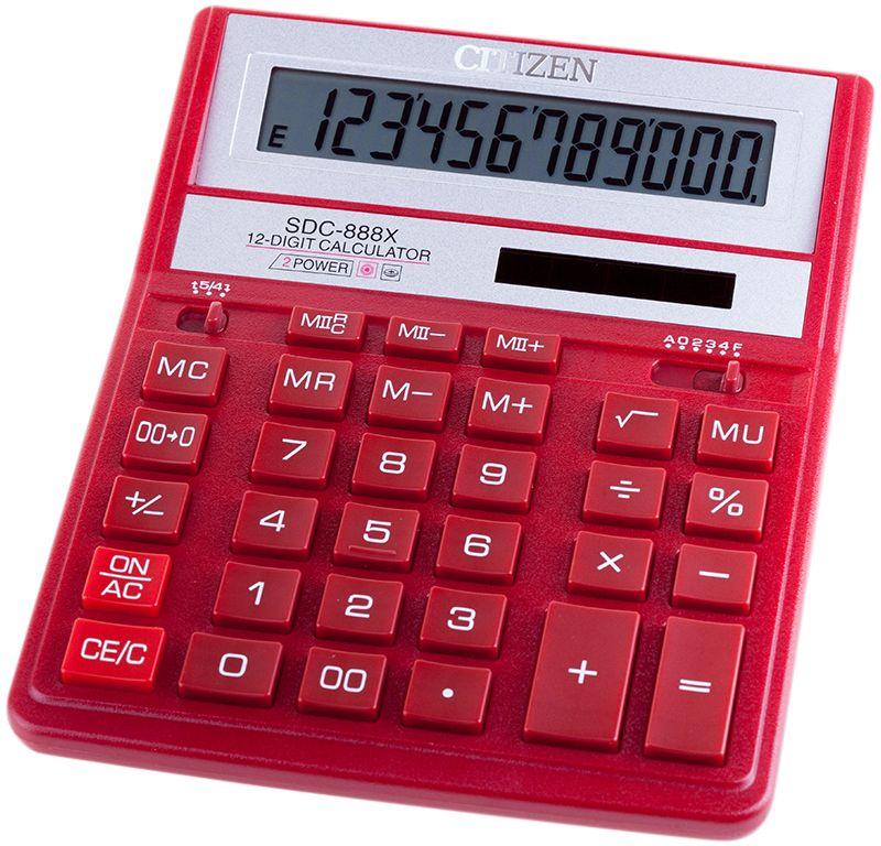 Citizen Настольный калькулятор цвет красный SDC-888XRDSDC-888XRDКультовая модель среди калькуляторов Citizen с наиболее удобным расположением кнопок. Фиксированный угол наклона дисплея. Кнопки вычисления процентов, смены знака, двойного нуля, две ячейки для хранения в памяти двух чисел. Функция вычисления с учетом торговой наценки (MU). Поставляется в картонной упаковке с окном.