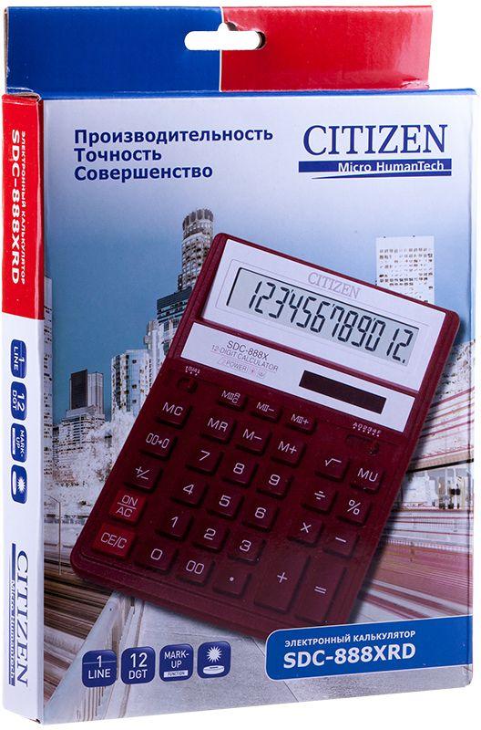 Citizen Настольный калькулятор цвет красный SDC-888XRD