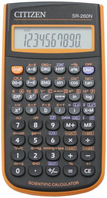 Citizen Инженерный калькулятор SR-260N цвет оранжевыйSR-260NORКалькулятор сертифицирован к использованию на ЕГЭ в системе «Учсерт» Российской Академии Образования. Допускается на ЕГЭ по физике, химии, географии. Выполняет арифметические действия, 165 математических функций, статистические расчеты. Имеет память на 1 прошлое действие и защиту памяти при отключении питания. От случайного нажатия клавиатуру защищает подвижная пластиковая крышка. Черный/оранжевый корпус, картонная упаковка.