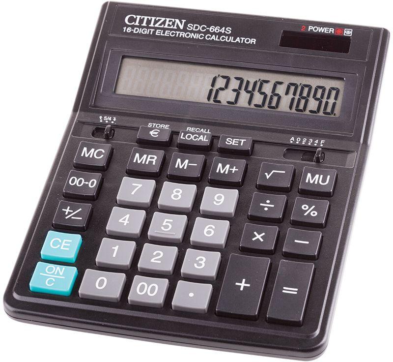 Citizen Настольный калькулятор цвет черный SDC-664SSDC-664SКалькулятор проводит расчеты с учетом торговой наценки, имеет полезные клавиши двойного нуля, смены знака, правки числа, клавишу Универсальная валюта для конвертации полученных значений в выбранную валюту. Настройка представления десятичных чисел и параметров округления чисел. Режим автоотключения.