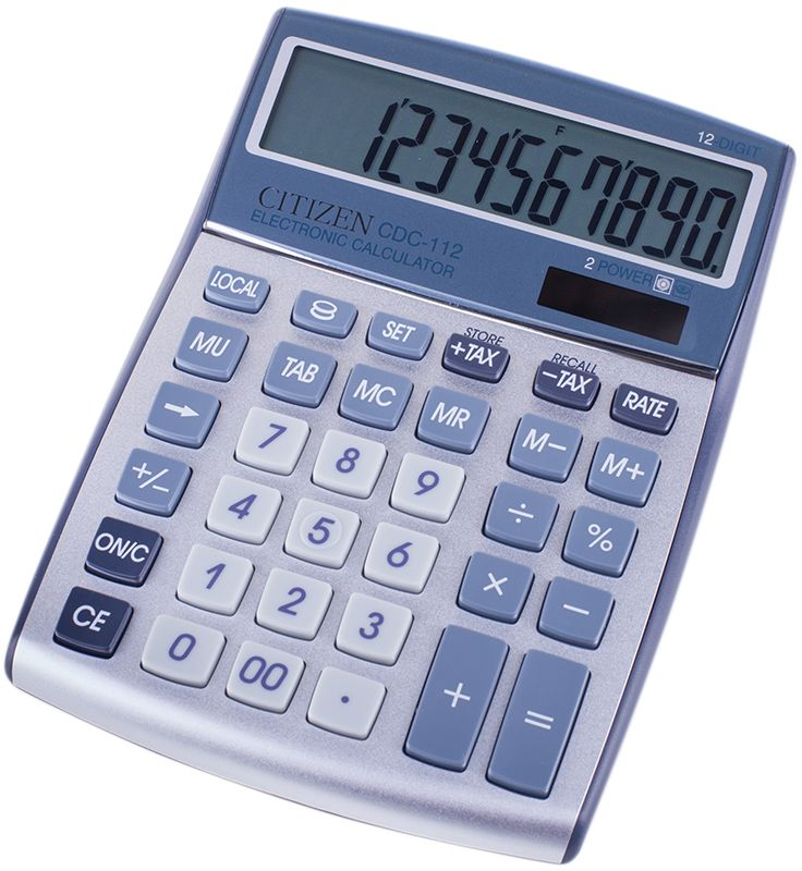 Citizen Настольный калькулятор цвет серый CDC-112WBCDC-112WBДанная модель способна вести расчеты с учетом торговой наценки и НДС, снабжена программируемым конвертером валют, удобной клавишей двойного нуля и смены знака. Режим автоматического отключения. Корпус калькулятора металлический. Поставляется в коробке с окном.