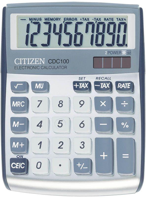 Citizen Настольный калькулятор CDC-100WBCDC-100WBДанная модель способна вести расчеты с учетом торговой наценки и НДС, снабжена клавишей смены знака, клавишей вычисления процентов и квадратного корня. Режим автоматического отключения. Корпус калькулятора металлический. Поставляется в коробке с окном.