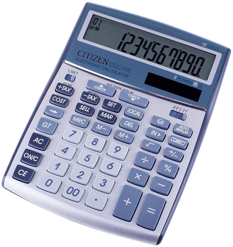 Citizen Настольный калькулятор цвет серый CCC-112WBCCC-112WBСтильный настольный калькулятор с крупными клавишами и большим дисплеем на 12 цифр.