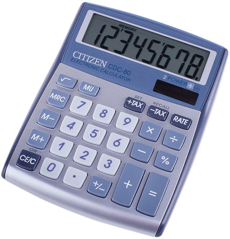 Citizen Настольный калькулятор CDC-80WBCDC-80WBДанная модель способна вести расчеты с учетом торговой наценки и НДС, снабжена клавишей смены знака, клавишей вычисления процентов и квадратного корня. Режим автоматического отключения. Корпус калькулятора металлический. Поставляется в коробке с окном.