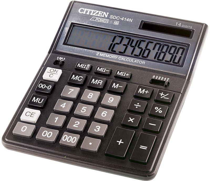 Citizen Настольный калькулятор SDC-414NSDC-414NКалькулятор выполняет вычисления с учетом торговой наценки, имеет удобные клавиши двойного и тройного нуля и смены знака, две ячейки памяти для хранения двух чисел одновременно, настройки отображения десятичных чисел и округления значений, режим автоматического отключения. Поставляется в картонной упаковке.