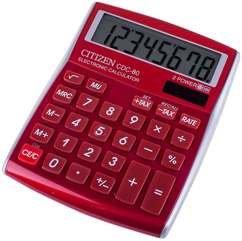 Citizen Настольный калькулятор цвет красный CDC-80RDCDC-80RDКалькулятор выполняет вычисления с учетом торговой наценки и НДС, операции с процентами и квадратным корнем, имеет клавишу смены знака. Режим автоматического отключения. Красный металлический корпус. Поставляется в коробке с окном.
