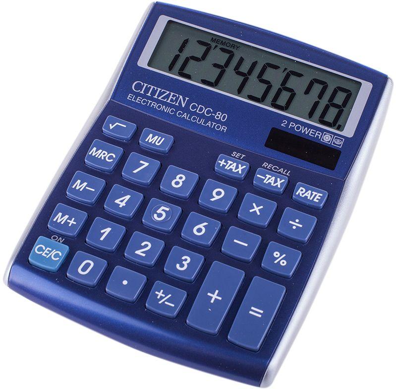 Citizen Настольный калькулятор цвет синий CDC-80BLCDC-80BLНастольный калькулятор с большим жидкокристаллическим дисплеем, зафиксированным под углом.