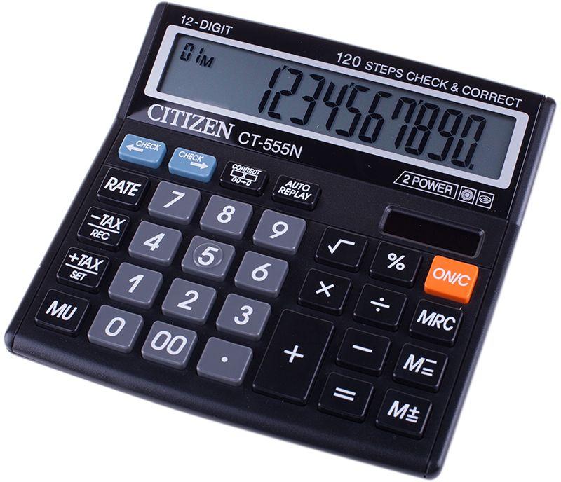 Citizen Настольный калькулятор CT-555NCT-555NВыполняет вычисления с учетом торговой наценки и НДС, позволяет просматривать цепочку введенных данных и вносить изменения, имеет счетчик операций, клавишу повторения вычислений, режим автоматического отключения.