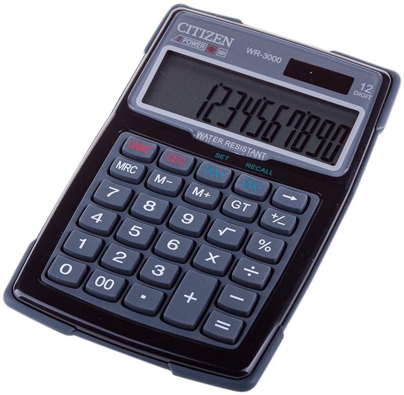 Citizen Настольный калькулятор WR-3000WR-3000Влагонепроницаемый калькулятор на 12 разрядов с противоуданой резиновой рамкой.
