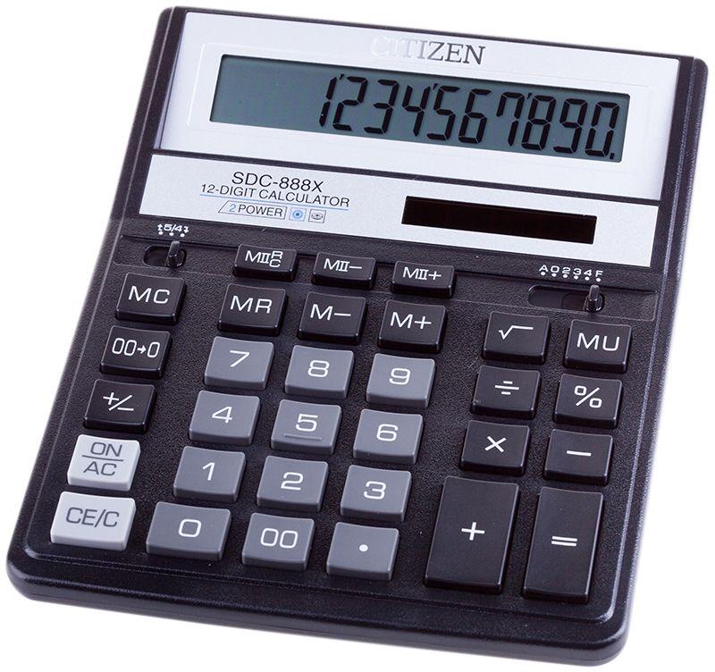 Citizen Настольный калькулятор SDC-888XSDC-888XBKКультовая модель среди калькуляторов Citizen с наиболее удобным расположением кнопок. Фиксированный угол наклона дисплея. Кнопки вычисления процентов, смены знака, двойного нуля, две ячейки для хранения в памяти двух чисел. Функция вычисления с учетом торговой наценки (MU). Поставляется в картонной упаковке с окном. Размер 205 х 159 х 27 мм.