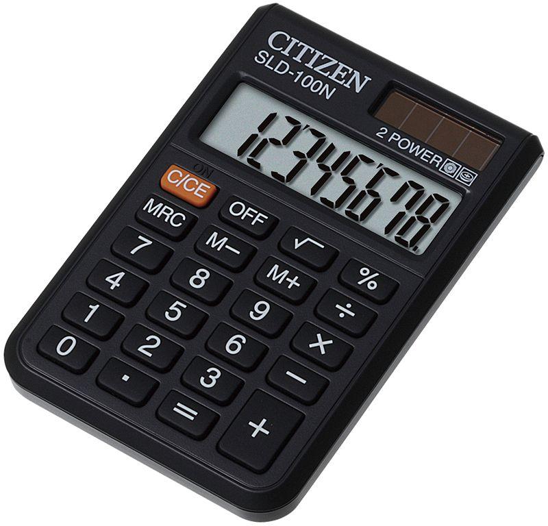 Citizen Карманный калькулятор SLD-100NSLD-100NВыполняет простейшие арифметические расчеты, операции с процентами и квадратным корнем. Есть кнопка отключения, режим автоматического отключения. Картонная упаковка.